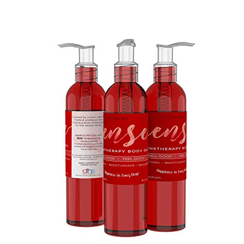 SENSE Relaxing Organic Body Oil | Every Day Use Massage Oil, Aroma Therapy, Natural Skin Moisturizer |100% Hypoallergenic | Made in the USA (8 Fl oz)