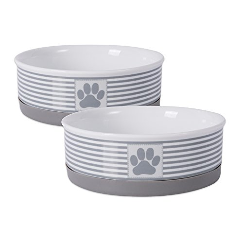 "Bone Dry DII Paw Patch & Stripes Ceramic Pet Bowl for Food & Water with Non-Skid Silicone Rim for Dogs and Cats (Medium - 6"" Dia x 2"" H) Gray - Set of 2"
