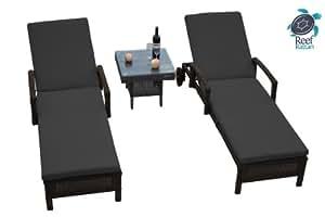Reef Rattan 3 Pc Islander Chaise Lounger Set Chocolate Rattan / Grey Cushions