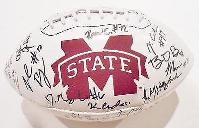 2015 Mississippi State Bulldogs Team Signed Logo Football w/COA C