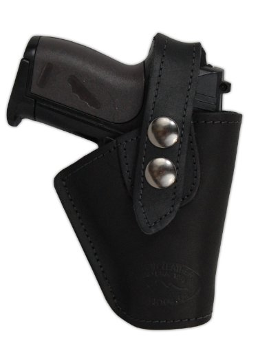 Pony Leather Belt - Barsony Black Leather OWB Belt Clip Holster for Colt 380 Mustang Pony Right