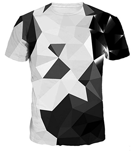 Chiclook Cool Men/Women Fashion Harajuku Argyle Color Blocks Clothing Print T Shirt Casual Tops Tee Brand Clothes ()