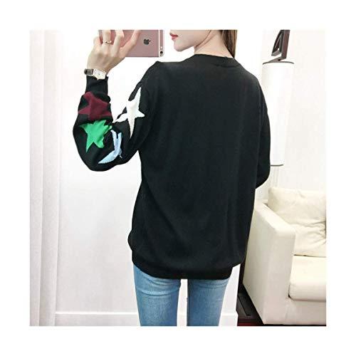 Maglione color Cuore Size Amante Mon5f Inverno Autunno Maglieria Black Black Donna Maglia L Home Jacquard nnFvIAq