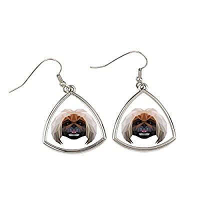 Pekingese-collection-of-earrings-with-purebred-dog-geometric