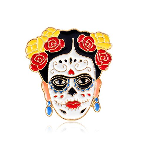 Misright Artist Frida Kahlo Skull Heart Brooch Decorative Enamel Charms Jewelry Badge Banquet Scarf Pins Gifts