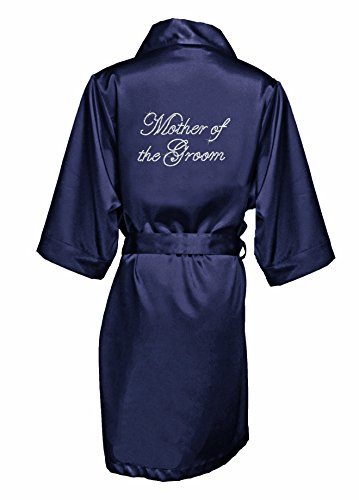 Zynotti Women's Rhinestone Mother of The Groom Bridal Party Getting Ready Wedding Kimono Navy Blue Satin Robe - L/XL ()