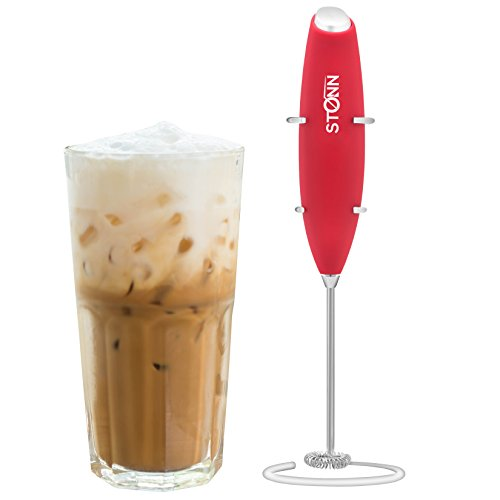 Chocolate Standard Battery - Electric Milk Frother Handheld for Drink Mixer Battery Operated, Latte, Coffee, Foam and Cappuccino Maker - Includes Stainless Steel Stand Red