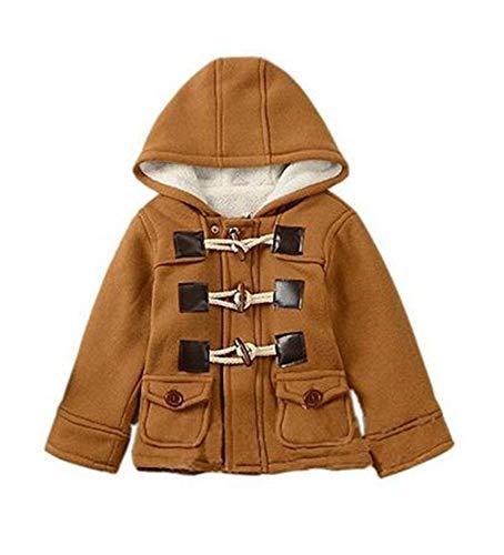 Lewego Unisex Baby Fleece Hooded Jacket Outerwear Duffle Zipper Winter Coat, Brown, 80cm(3-9Months)
