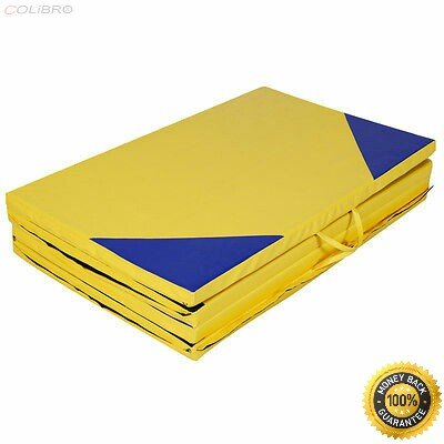 COLIBROX-- 4'x10'x2'' Gymnastics Mat Thick Folding Panel Gym Fitness Exercise Yellow/Blue New 4'x8'x2'' Gymnastics Mat Thick Folding Panel Gym Fitness Exercise Mat by COLIBROX
