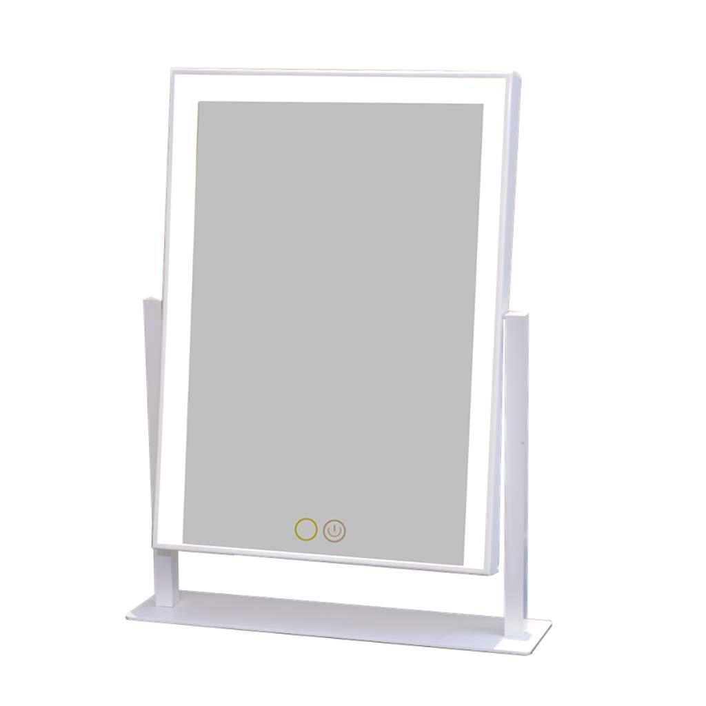 LIHY Schminkspiegel- LED-Schminkspiegel, großer Desktop mit Lichtspiegel, europäischer quadratischer Spiegel, zweifarbig dimmbar (Farbe   Weiß)
