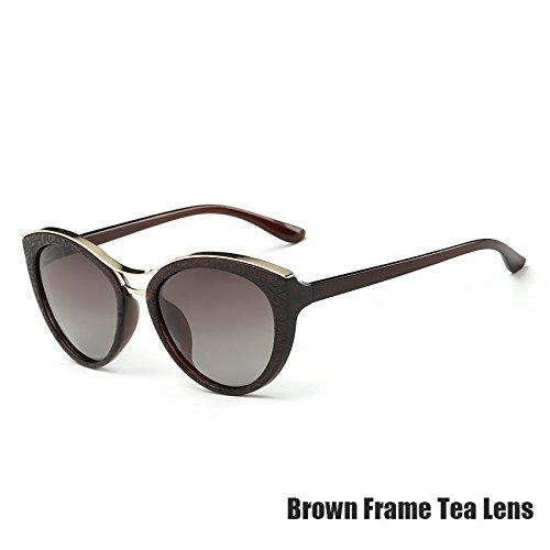 Las Azul De Gafas Gris Gafas Ojo Tea TIANLIANG04 Para Mujeres De Gato Polarizadas Vintage Brown qPY5dP4xwg