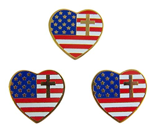 Religious Heart Shaped American Flag with Cross Lapel Pin, 3/4 Inch