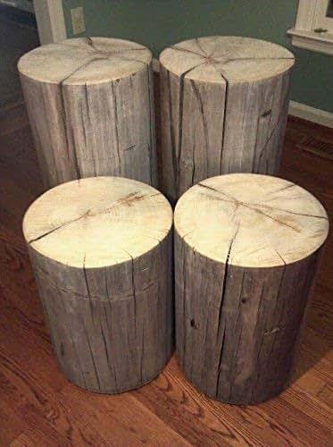 Amazon Com Rustic Weathered Gray Poplar Stump Table