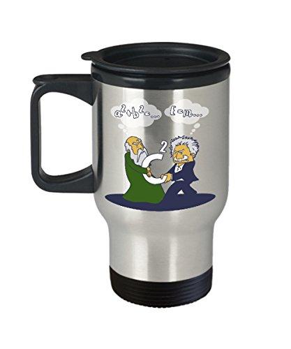 Funny Science Gifts Pythagoras Fights Einstein Travel Mug