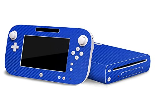 Nintendo Wii U Skin – NEW – 3D CARBON FIBER CANDY BLUE – Air Release vinyl decal faceplate mod kit by System Skins
