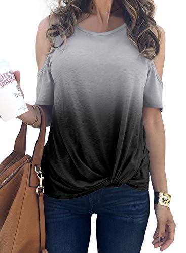 (BLENCOT Women's Summer Crewneck Cold Shoulder Twist Tops Short Sleeve Blouses Solid Basic Knit Tie Dye Shirts Gray M)