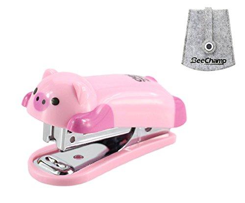 BeeChamp Mini Cute Cartoon Desktop Stapler with Staples for Office School Home Best Award to Schoolchildren (Pink Piggy)