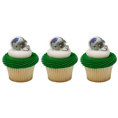 NFL Buffalo Bills Football Helmet Cupcake Rings - 24 pcs
