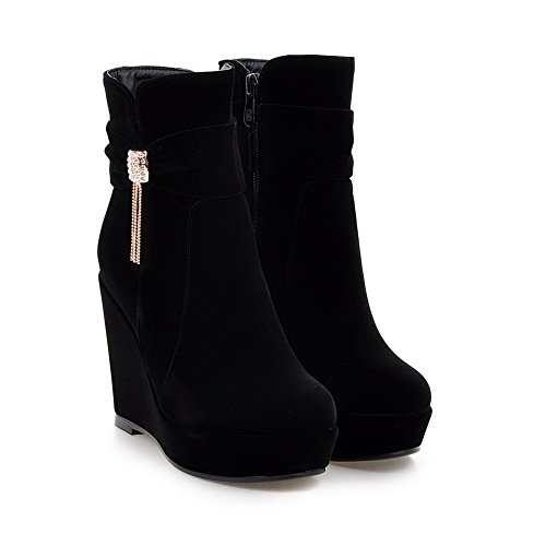 Women's Heels top Round Toe High Low Black Boots Solid AgooLar Closed Frosted ZzgdxqZwf