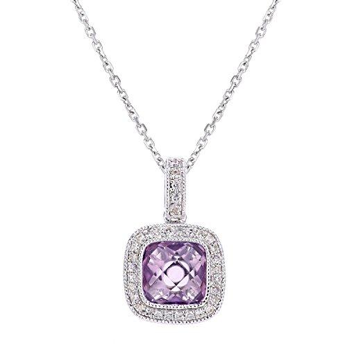Revoni Bague en or blanc 9carats-Diamant et Améthyste-Collier Femme-Pendentif carré