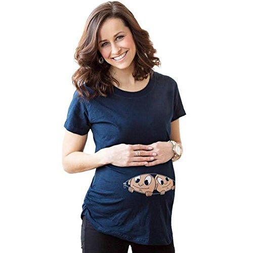 Highdas Mama T-shirt enceinte avec Peep bébé drôle Motif femmes maternité Top Bleu / S