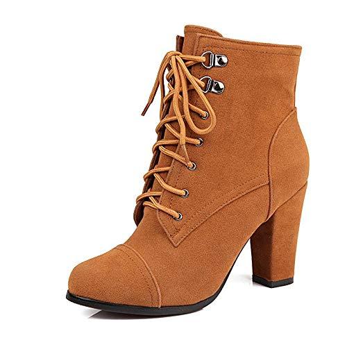 Botines con tacón Alto y tacón Alto para Mujer, Botines Altos, Amarillo, 32: Amazon.es: Zapatos y complementos