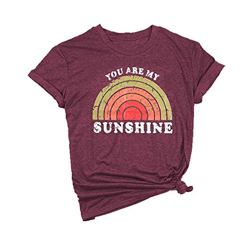 You are My Sunshine T-Shirt Women's Letter Printed Rainbow Graphic Tees Casual O Neck Short Sleeve Tops (Burgundy,Large)]()