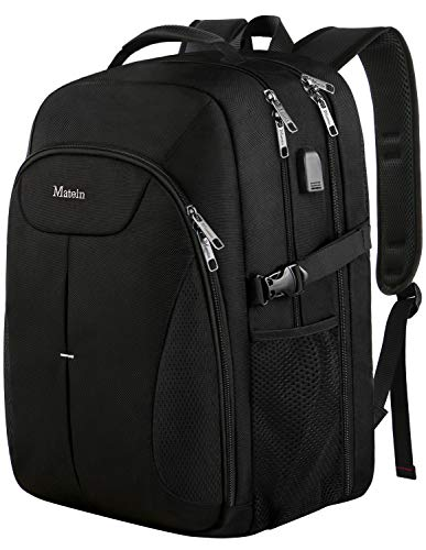 (Travel Backpack for Men, Large Laptop TSA Backpack with USB Charging Port,Airplane Backpack up to 17 inches - Black)