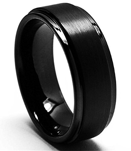 King Will Men's 8mm Black Tungsten Carbide Ring Comfort Fit Brushed Wedding Band