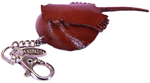 Leather Zipper Pull Charm - Mini Horseshoe Crab- Jacket Chain, Small Toy Fob