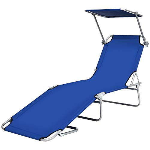 Goplus Folding Chaise Lounge Chair Adjustable Outdoor Recliner w/Detachable Canopy for Pool Lawn Yard Patio Beach Camping (Blue)