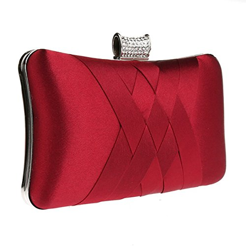 Evening Satin red Clutch Handbag Handheld Party Wedding Bridal Elegant wine Prom Purse 5HnASqx5dw