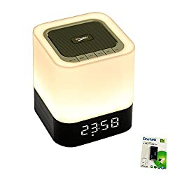 Portable Bluetooth Speaker + LED Night Light Lamp, with LED Display, Handsfree Speakerphone, Alarm Clock, Micro SD Card & USB & AUX Slots for Smart Phone, MP3, iPad, Tablet and More (12 hrs Playtime)