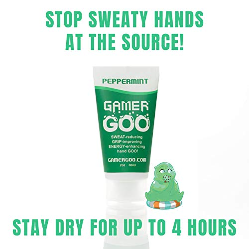 Gamer Goo Antiperspirant Dry Grip for Sweaty Hands - - Anti Sweat Hand Lotion - - FDA-Approved Ingredients, Non Sticky, Non-Toxic, TSA Travel Safe, Made in USA - 2 oz. (60mL) (Peppermint, 1 Pack)