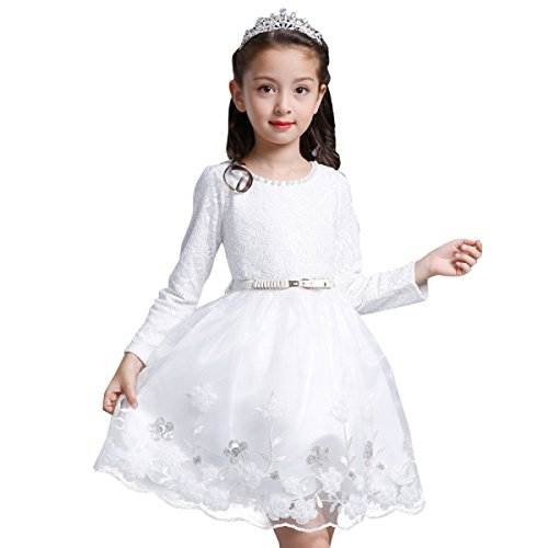 White Toddler Girl Dress 4T Flower Princess Party Swing Dresses Tulle Skirt (3-4 Year, White) -