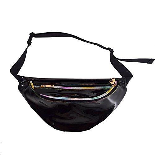 Rosoz Adjustable Hologram Laser Waist Pack for Women Girls, Casual Travel Waist Bag Chest Bag, Fanny Pack Bum Bag Belt Waist for Concert Rave (Black)