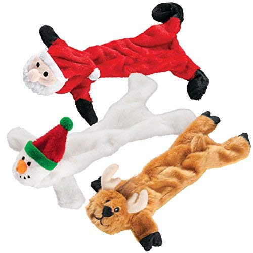 Stuffing Free Christmas Dog Toys, Set of 3 (Large Toys Christmas Dog)