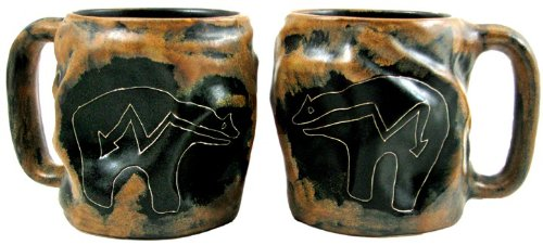 One (1) MARA STONEWARE COLLECTION - 20 Oz. Rock Art Coffee Cup Collectible Dinner Mug - Fetish Bear - Bear Stoneware