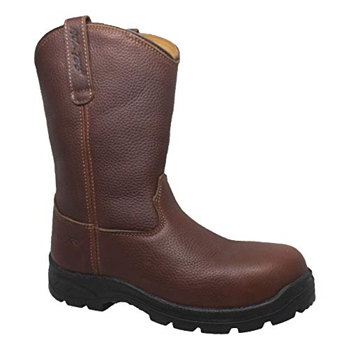 AdTec Mens 12in CT Wellington Work Boots Tumbled Leather, Brown, 11 M US
