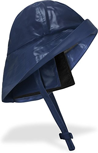 Regenhut Südwester mit Kinnband, breiter Krempe und Innenfutter Farbe Marine Größe L