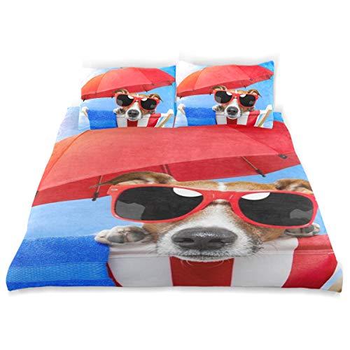 Vipsk Kids Duvet Cover Pillowcase Bedding Set Funny Jack Russell Terrier Pattern 3 Piece Bed Set 100% Cotton with Zipper Closure Organic Modern Comforter Set Full/Queen