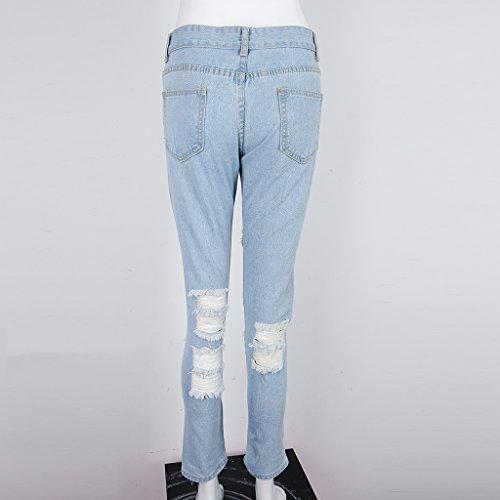 Blu Magideal Donna Strappati Con Jeans Vita Strappato Alta A Buco Per FSvPFxBUn