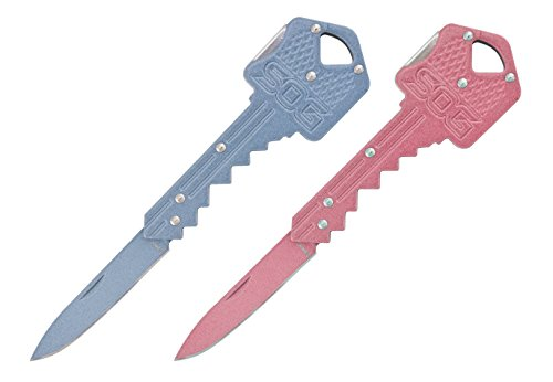 SOG-Key-Folding-Knife-KEY-15-Blade-Pink-and-Blue-Stainless-Steel-Handle-2-Pack-Gift-Set