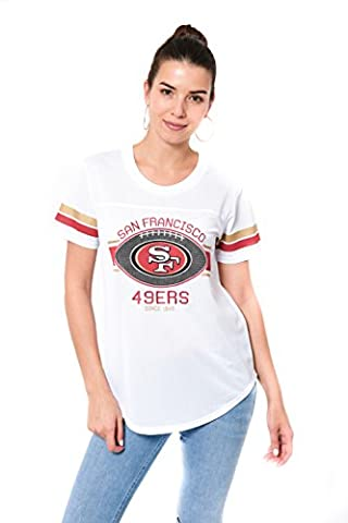 NFL San Francisco 49ers Women's Mesh Jersey Varsity Stripe Short Sleeve T-Shirt Top, White, Medium - San Francisco 49ers Nfl Football
