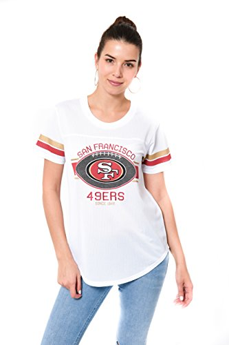 Icer Brands NFL San Francisco 49ers Women's Jersey T-Shirt Mesh Varsity Stripe Tee Shirt, Large, (San Francisco 49ers Womens Apparel)
