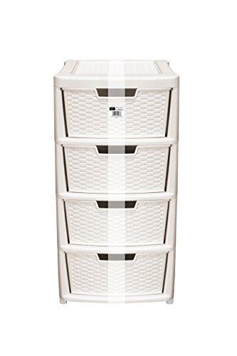 EHC Large 4-Drawer Tower Plastic Rattan Style Plastic Storage Unit Cream Amazon.co.uk Kitchen u0026 Home  sc 1 st  Amazon UK & EHC Large 4-Drawer Tower Plastic Rattan Style Plastic Storage Unit ...