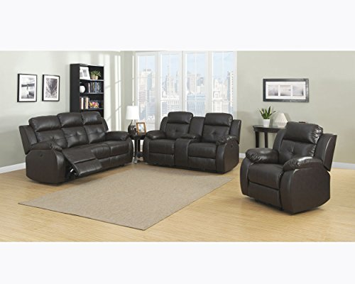 Christies Home Living Troy Room Set in Espresso, with 5 Power Recliners, Sofa Loveseat, 3 Piece - 5 Five Seat Sofa