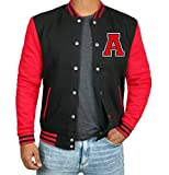 Black and Red Mens Lettermans Jacket for Students | A Red Sleeve | L