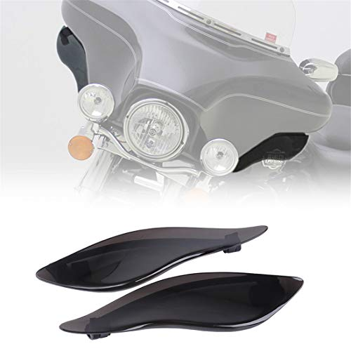 - KIWI MASTER New 2 Pcs ABS Adjustable Side Wings Windshield Air Deflectors Fairing Side Cover Shield Compatible for 2014-2017 Harley touring Street Glide,Black