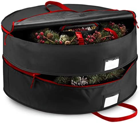 "Double Premium Christmas Wreath Storage Bag 30"", With Compartment Organizers For Christmas Garlands & Durable Handles, Protect Artificial Wreaths - Holiday Xmas Bag Made of Tear-Proof 600D Oxford"